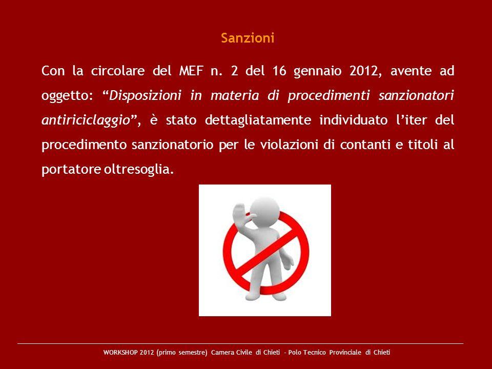 WORKSHOP 2012 (primo semestre) Camera Civile di Chieti - Polo Tecnico Provinciale di Chieti Sanzioni Con la circolare del MEF n. 2 del 16 gennaio 2012