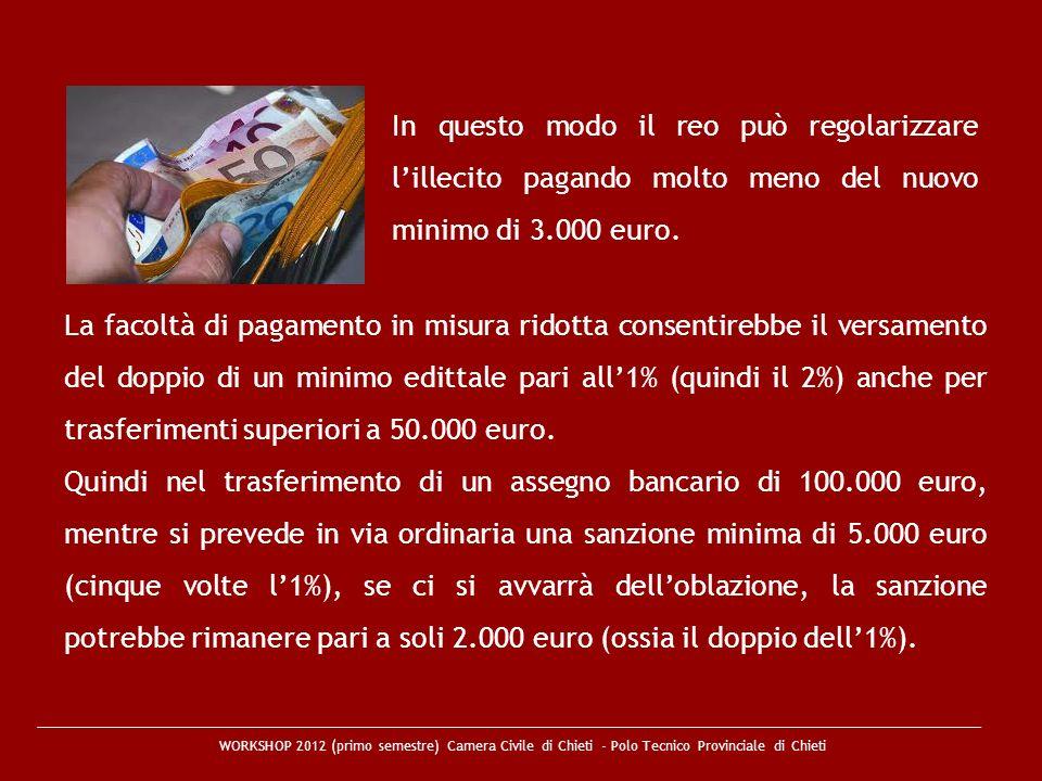 WORKSHOP 2012 (primo semestre) Camera Civile di Chieti - Polo Tecnico Provinciale di Chieti La facoltà di pagamento in misura ridotta consentirebbe il
