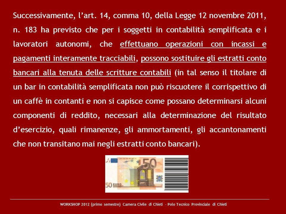WORKSHOP 2012 (primo semestre) Camera Civile di Chieti - Polo Tecnico Provinciale di Chieti Successivamente, lart. 14, comma 10, della Legge 12 novemb