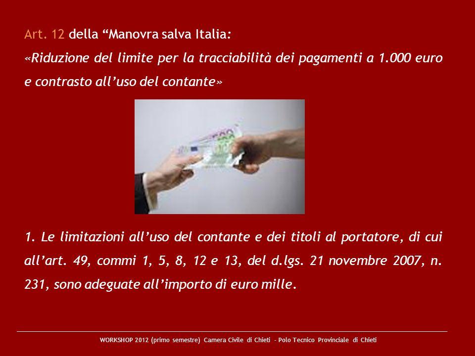 WORKSHOP 2012 (primo semestre) Camera Civile di Chieti - Polo Tecnico Provinciale di Chieti Art. 12 della Manovra salva Italia: «Riduzione del limite