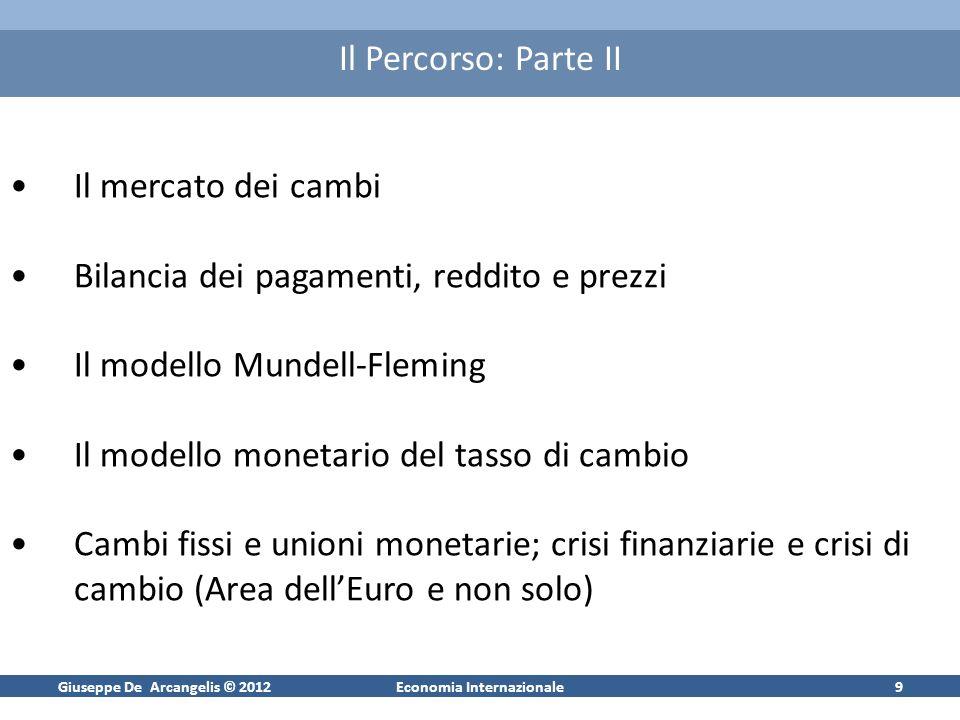 Giuseppe De Arcangelis © 2012Economia Internazionale9 Il Percorso: Parte II Il mercato dei cambi Bilancia dei pagamenti, reddito e prezzi Il modello M