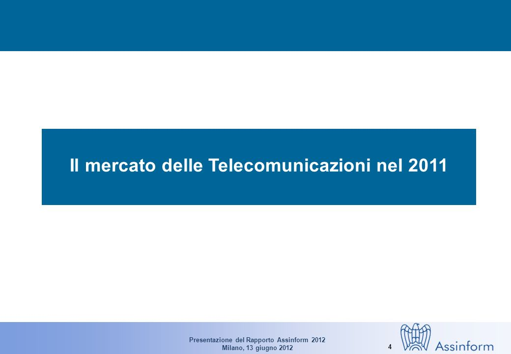 Presentazione del Rapporto Assinform 2012 Milano, 13 giugno 2012 4 Il mercato delle Telecomunicazioni nel 2011