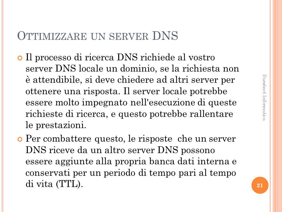 O TTIMIZZARE UN SERVER DNS Il processo di ricerca DNS richiede al vostro server DNS locale un dominio, se la richiesta non è attendibile, si deve chiedere ad altri server per ottenere una risposta.