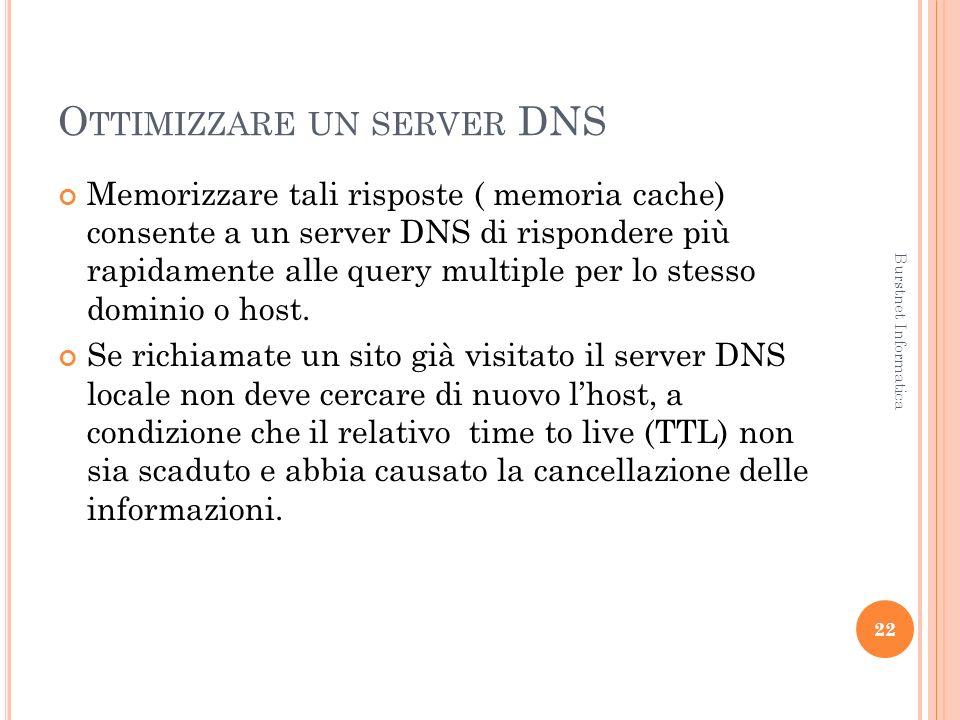 O TTIMIZZARE UN SERVER DNS Memorizzare tali risposte ( memoria cache) consente a un server DNS di rispondere più rapidamente alle query multiple per lo stesso dominio o host.