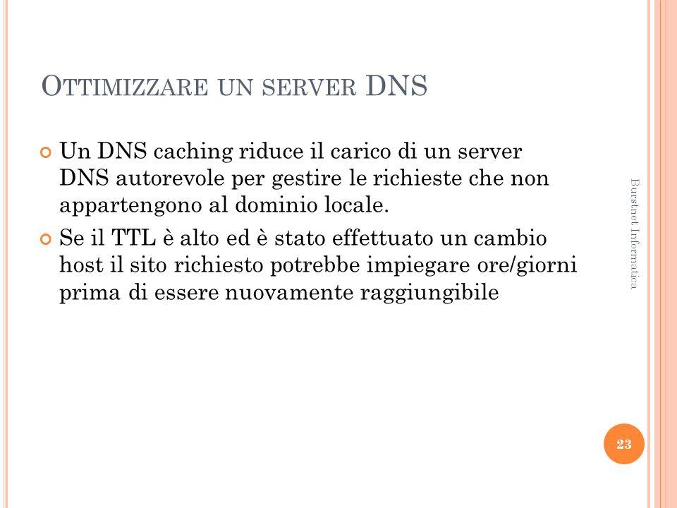 O TTIMIZZARE UN SERVER DNS Un DNS caching riduce il carico di un server DNS autorevole per gestire le richieste che non appartengono al dominio locale.