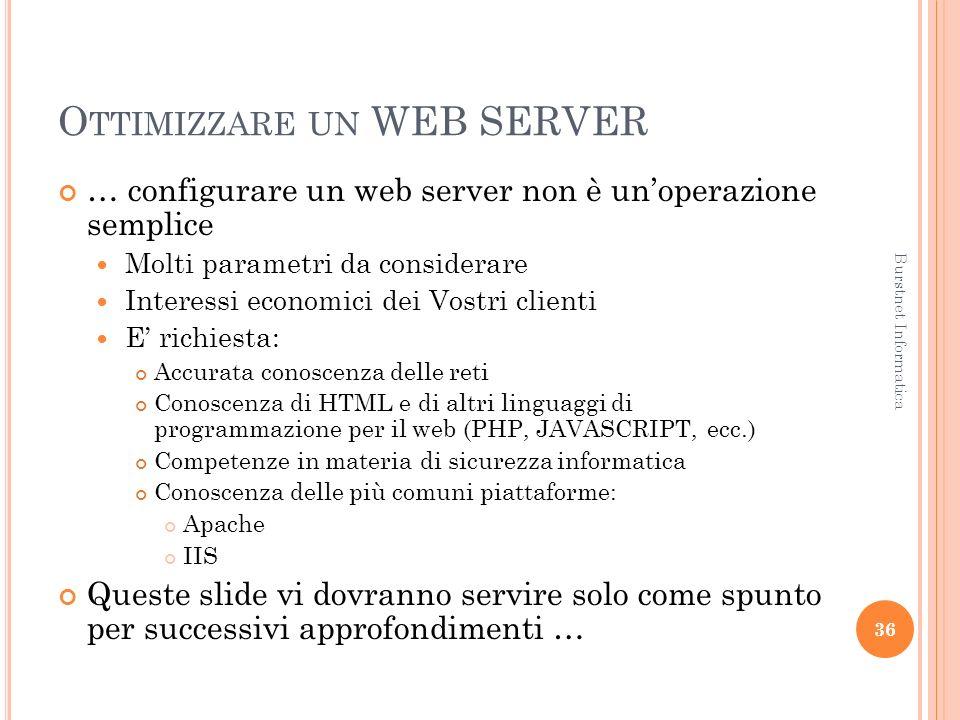 O TTIMIZZARE UN WEB SERVER … configurare un web server non è unoperazione semplice Molti parametri da considerare Interessi economici dei Vostri clienti E richiesta: Accurata conoscenza delle reti Conoscenza di HTML e di altri linguaggi di programmazione per il web (PHP, JAVASCRIPT, ecc.) Competenze in materia di sicurezza informatica Conoscenza delle più comuni piattaforme: Apache IIS Queste slide vi dovranno servire solo come spunto per successivi approfondimenti … 36 Burstnet Informatica