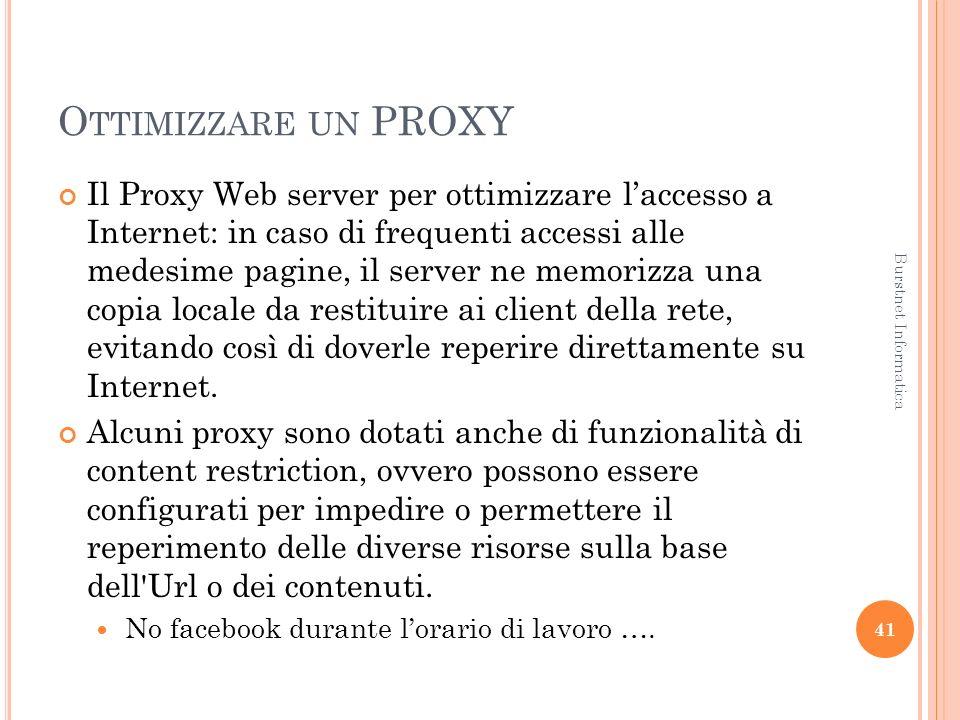 O TTIMIZZARE UN PROXY Il Proxy Web server per ottimizzare laccesso a Internet: in caso di frequenti accessi alle medesime pagine, il server ne memorizza una copia locale da restituire ai client della rete, evitando così di doverle reperire direttamente su Internet.