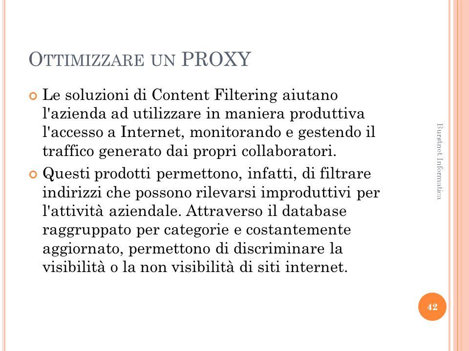 O TTIMIZZARE UN PROXY Le soluzioni di Content Filtering aiutano l azienda ad utilizzare in maniera produttiva l accesso a Internet, monitorando e gestendo il traffico generato dai propri collaboratori.