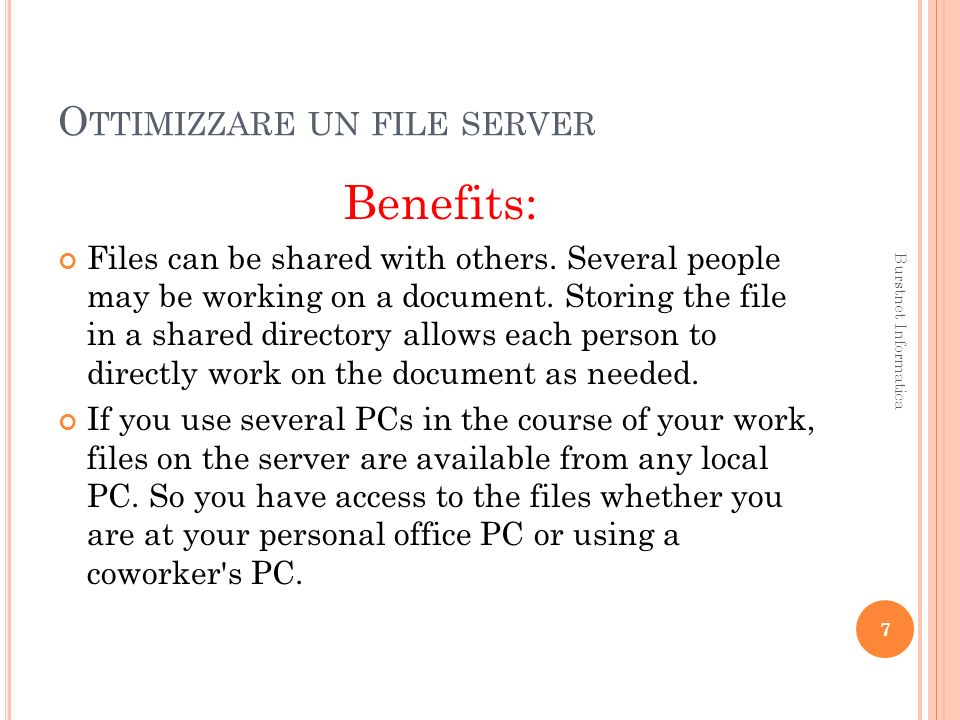 O TTIMIZZARE UN FILE SERVER Windows optimization: One way of improving the performance of your server is to tweak the NTFS file system.