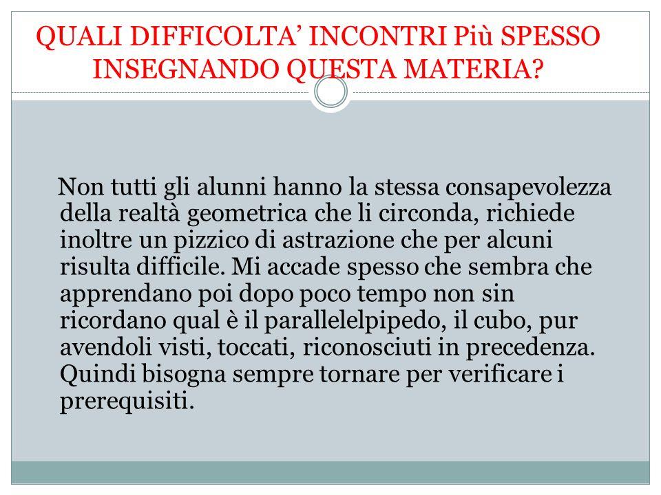 QUALI DIFFICOLTA INCONTRI Più SPESSO INSEGNANDO QUESTA MATERIA.