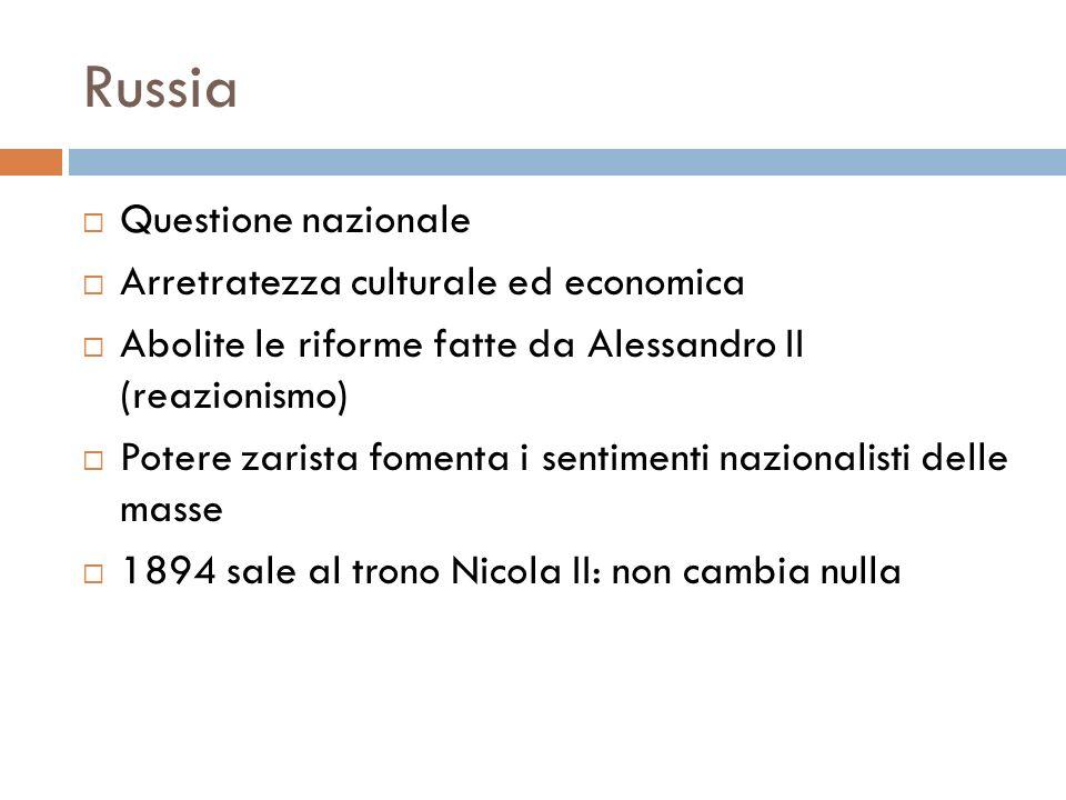Russia Questione nazionale Arretratezza culturale ed economica Abolite le riforme fatte da Alessandro II (reazionismo) Potere zarista fomenta i sentim