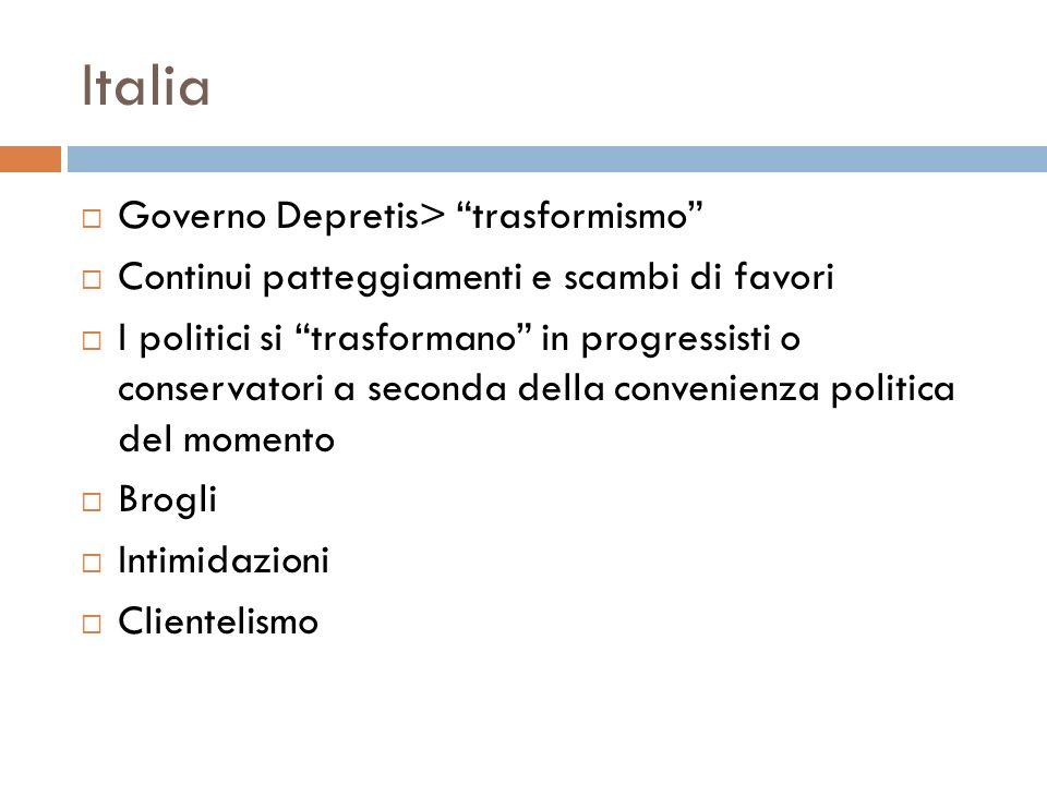Italia Governo Depretis> trasformismo Continui patteggiamenti e scambi di favori I politici si trasformano in progressisti o conservatori a seconda de