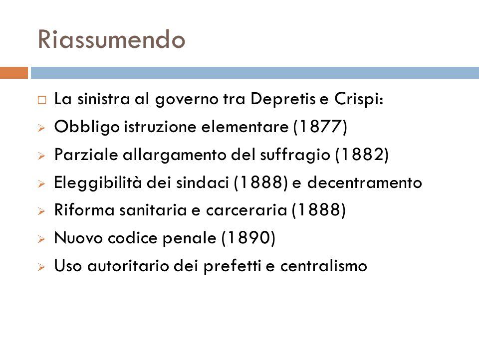 Riassumendo La sinistra al governo tra Depretis e Crispi: Obbligo istruzione elementare (1877) Parziale allargamento del suffragio (1882) Eleggibilità