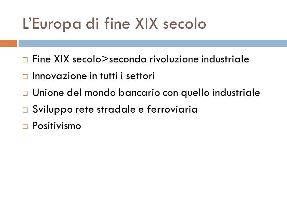 LEuropa di fine XIX secolo Fine XIX secolo>seconda rivoluzione industriale Innovazione in tutti i settori Unione del mondo bancario con quello industr