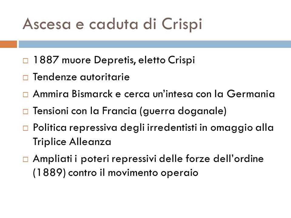 Ascesa e caduta di Crispi 1887 muore Depretis, eletto Crispi Tendenze autoritarie Ammira Bismarck e cerca unintesa con la Germania Tensioni con la Fra