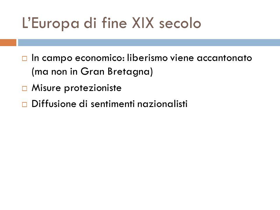 LEuropa di fine XIX secolo In campo economico: liberismo viene accantonato (ma non in Gran Bretagna) Misure protezioniste Diffusione di sentimenti naz