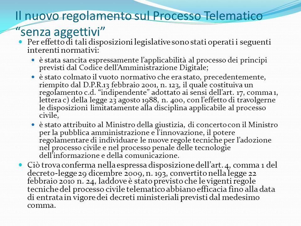Il nuovo regolamento sul Processo Telematico senza aggettivi Per effetto di tali disposizioni legislative sono stati operati i seguenti interenti normativi: è stata sancita espressamente lapplicabilità al processo dei principi previsti dal Codice dellAmministrazione Digitale; è stato colmato il vuoto normativo che era stato, precedentemente, riempito dal D.P.R.13 febbraio 2001, n.