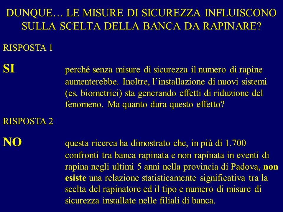 DUNQUE… LE MISURE DI SICUREZZA INFLUISCONO SULLA SCELTA DELLA BANCA DA RAPINARE.