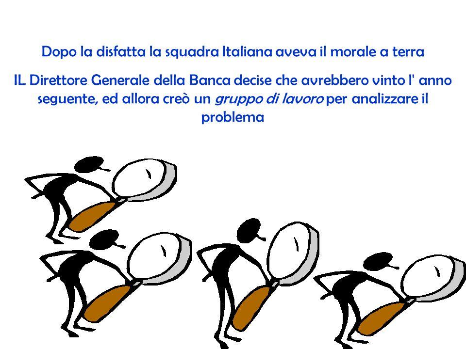Dopo la disfatta la squadra Italiana aveva il morale a terra IL Direttore Generale della Banca decise che avrebbero vinto l anno seguente, ed allora creò un gruppo di lavoro per analizzare il problema