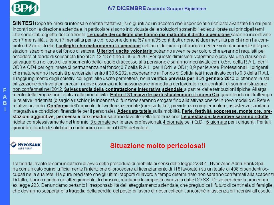 FABIFABI 6/7 DICEMBRE Accordo Gruppo Bipiemme SINTESI Dopo tre mesi di intensa e serrata trattativa, si è giunti ad un accordo che risponde alle richi