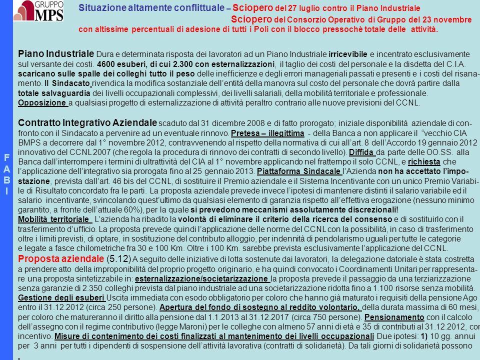 FABIFABI Situazione altamente conflittuale – Sciopero del 27 luglio contro il Piano Industriale Sciopero del Consorzio Operativo di Gruppo del 23 nove