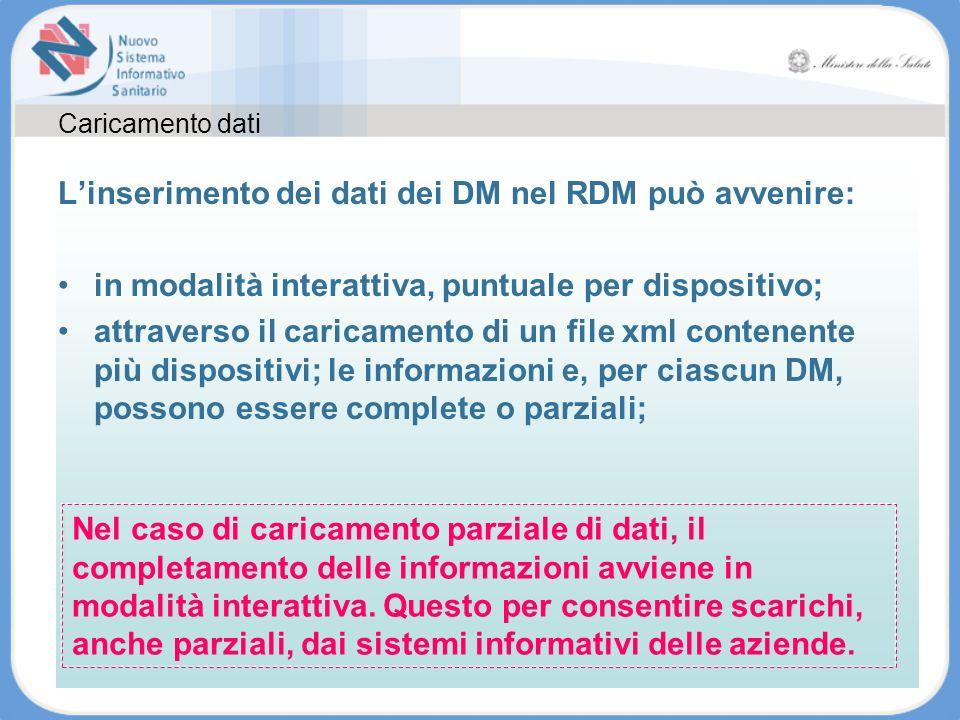 Caricamento dati Linserimento dei dati dei DM nel RDM può avvenire: in modalità interattiva, puntuale per dispositivo; attraverso il caricamento di un