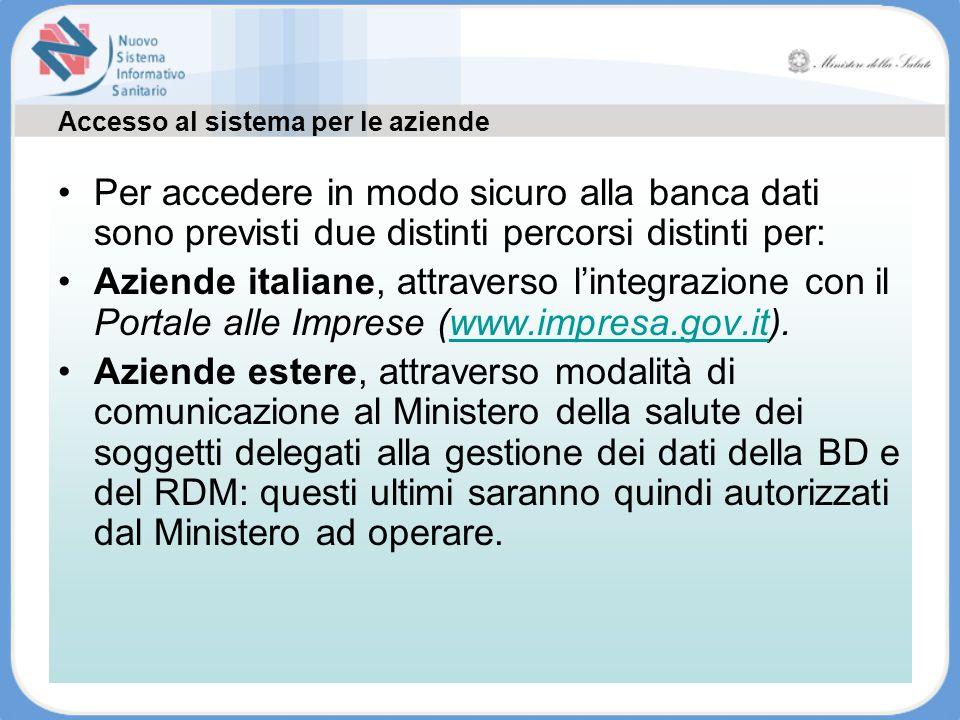 Accesso al sistema per le aziende Tutte le informazioni sono disponibili su www.ministerosalute.it Per accedere in modo sicuro alla banca dati sono pr