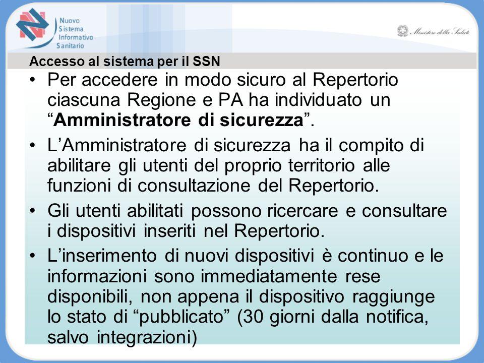 Accesso al sistema per il SSN Tutte le informazioni sono disponibili su www.ministerosalute.it Per accedere in modo sicuro al Repertorio ciascuna Regi