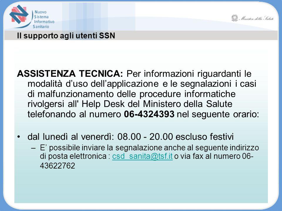 Il supporto agli utenti SSN ASSISTENZA TECNICA: Per informazioni riguardanti le modalità duso dellapplicazione e le segnalazioni i casi di malfunziona