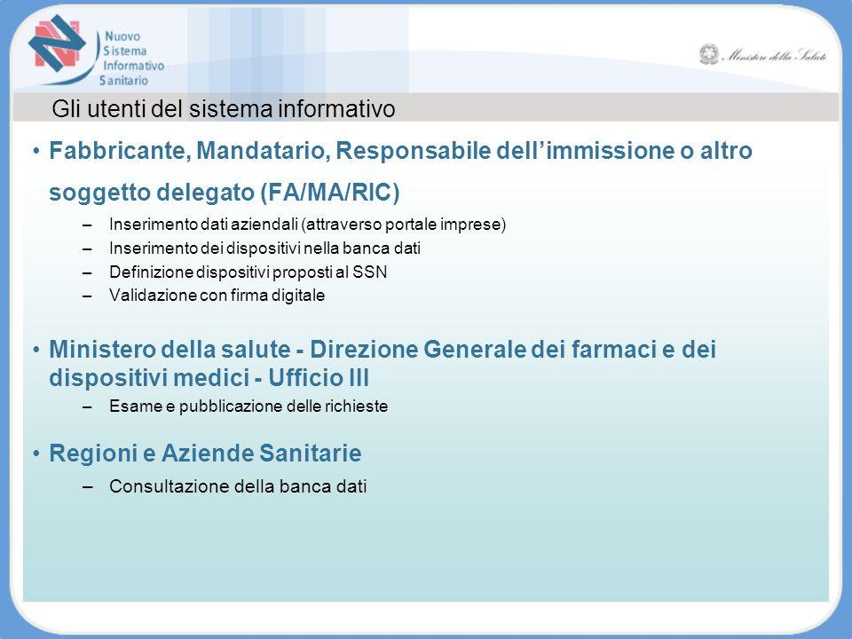 Gli utenti del sistema informativo Fabbricante, Mandatario, Responsabile dellimmissione o altro soggetto delegato (FA/MA/RIC) –Inserimento dati aziend