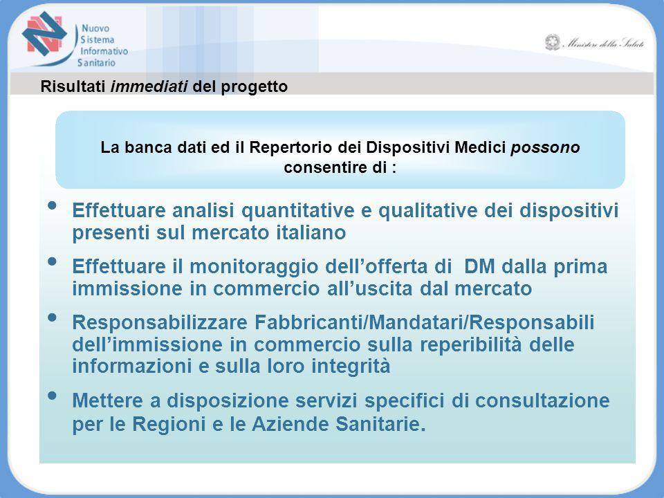 Effettuare analisi quantitative e qualitative dei dispositivi presenti sul mercato italiano Effettuare il monitoraggio dellofferta di DM dalla prima i