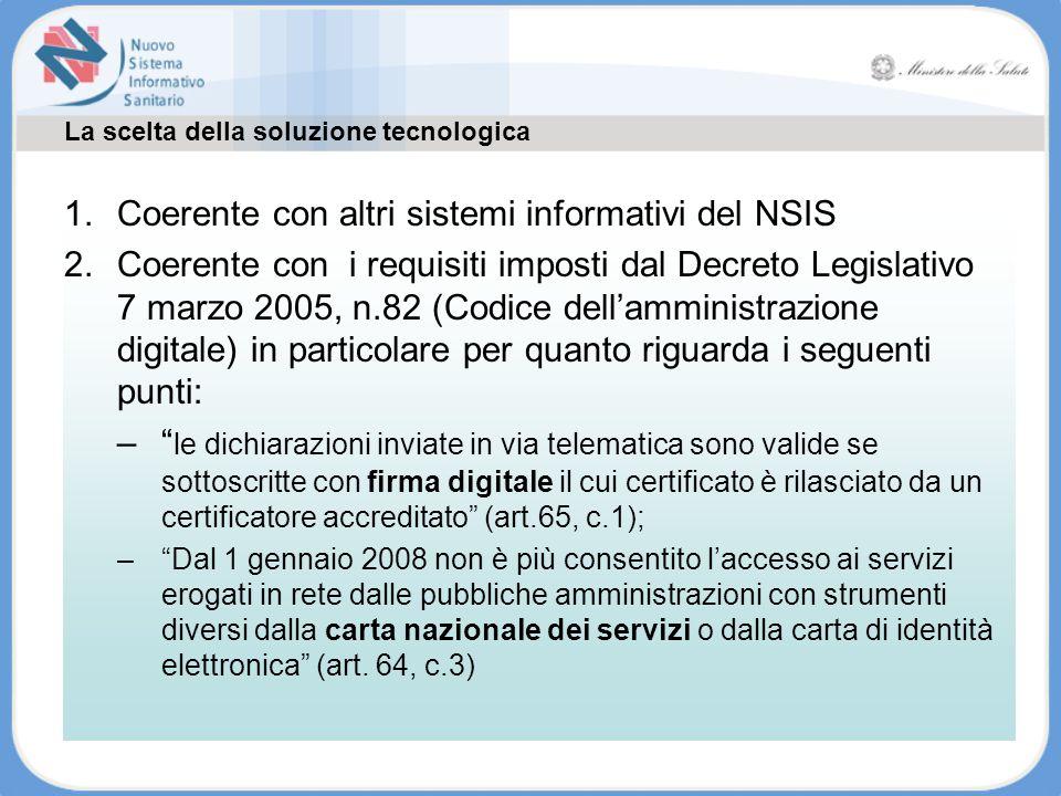 La scelta della soluzione tecnologica 1.Coerente con altri sistemi informativi del NSIS 2.Coerente con i requisiti imposti dal Decreto Legislativo 7 m