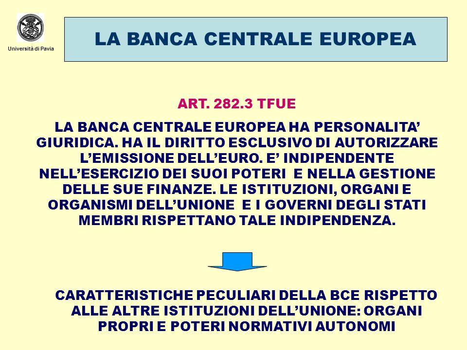 Università di Pavia LA BANCA CENTRALE EUROPEA ART. 282.3 TFUE LA BANCA CENTRALE EUROPEA HA PERSONALITA GIURIDICA. HA IL DIRITTO ESCLUSIVO DI AUTORIZZA