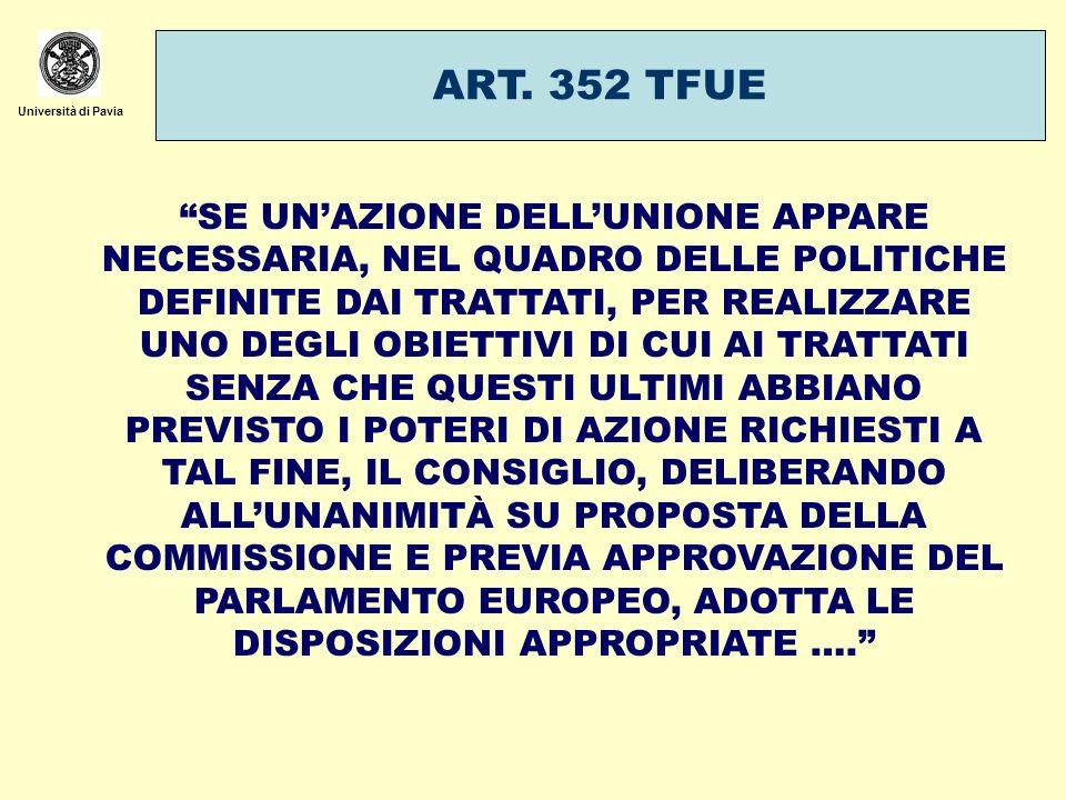 Università di Pavia ART. 352 TFUE SE UNAZIONE DELLUNIONE APPARE NECESSARIA, NEL QUADRO DELLE POLITICHE DEFINITE DAI TRATTATI, PER REALIZZARE UNO DEGLI