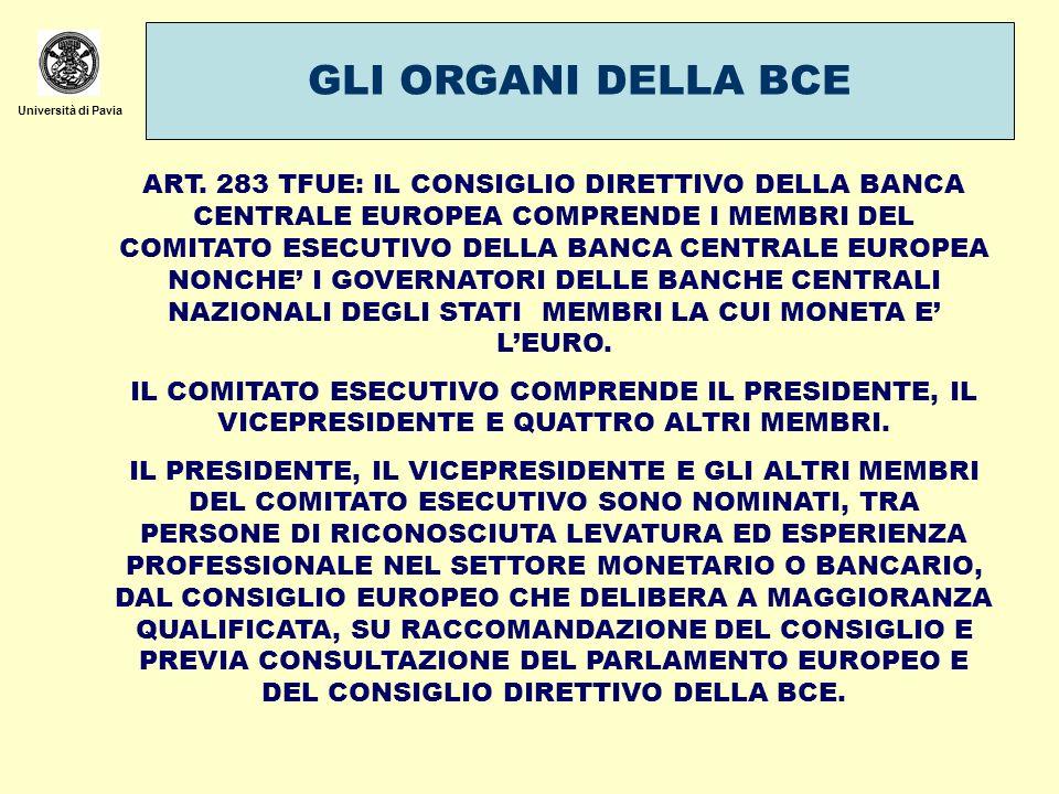 Università di Pavia GLI ORGANI DELLA BCE ART. 283 TFUE: IL CONSIGLIO DIRETTIVO DELLA BANCA CENTRALE EUROPEA COMPRENDE I MEMBRI DEL COMITATO ESECUTIVO