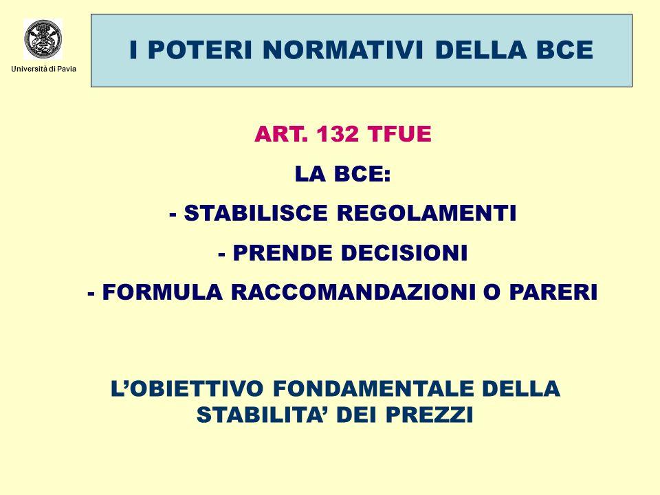 Università di Pavia I POTERI NORMATIVI DELLA BCE ART. 132 TFUE LA BCE: - STABILISCE REGOLAMENTI - PRENDE DECISIONI - FORMULA RACCOMANDAZIONI O PARERI