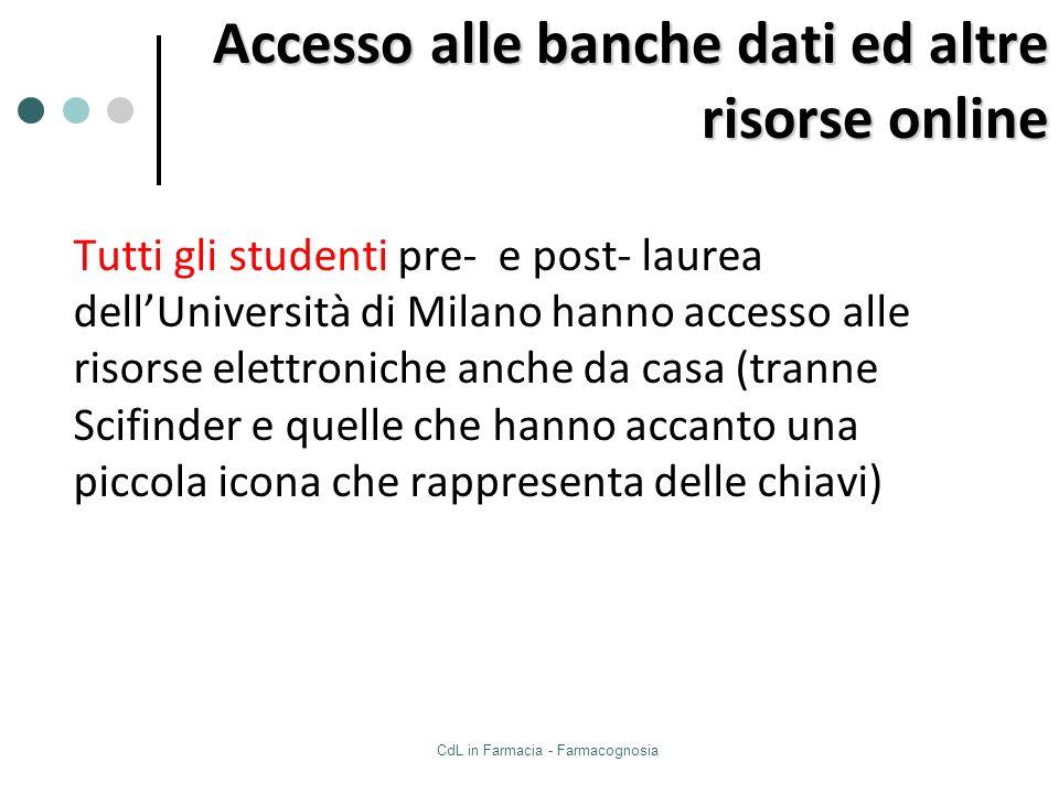 CdL in Farmacia - Farmacognosia Tutti gli studenti pre- e post- laurea dellUniversità di Milano hanno accesso alle risorse elettroniche anche da casa