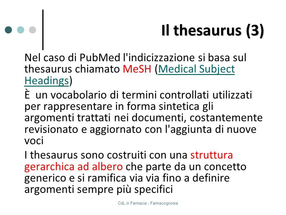 CdL in Farmacia - Farmacognosia Il thesaurus (3) Nel caso di PubMed l'indicizzazione si basa sul thesaurus chiamato MeSH (Medical Subject Headings)Med