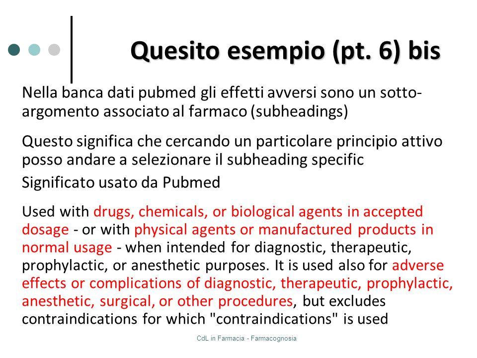 CdL in Farmacia - Farmacognosia Quesito esempio (pt. 6) bis Nella banca dati pubmed gli effetti avversi sono un sotto- argomento associato al farmaco