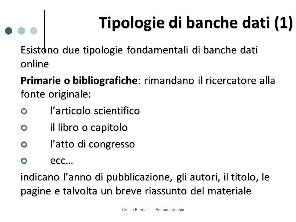 CdL in Farmacia - Farmacognosia Tipologie di banche dati (1) Esistono due tipologie fondamentali di banche dati online Primarie o bibliograficherimand