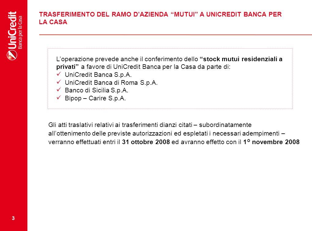 3 TRASFERIMENTO DEL RAMO DAZIENDA MUTUI A UNICREDIT BANCA PER LA CASA Loperazione prevede anche il conferimento dello stock mutui residenziali a privati a favore di UniCredit Banca per la Casa da parte di: UniCredit Banca S.p.A.