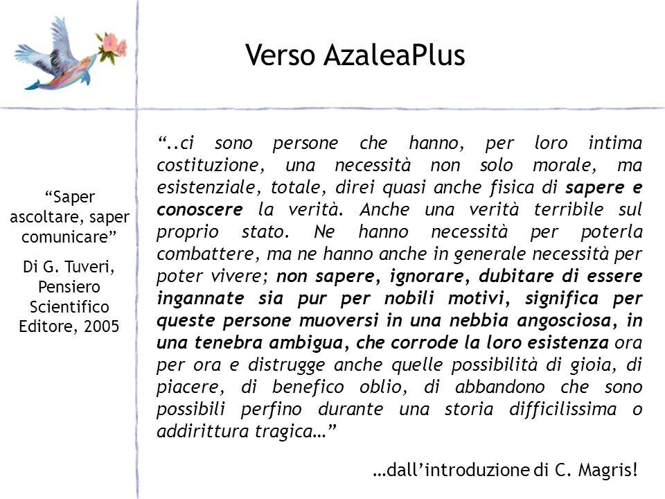 Verso AzaleaPlus Saper ascoltare, saper comunicare Di G. Tuveri, Pensiero Scientifico Editore, 2005..ci sono persone che hanno, per loro intima costit