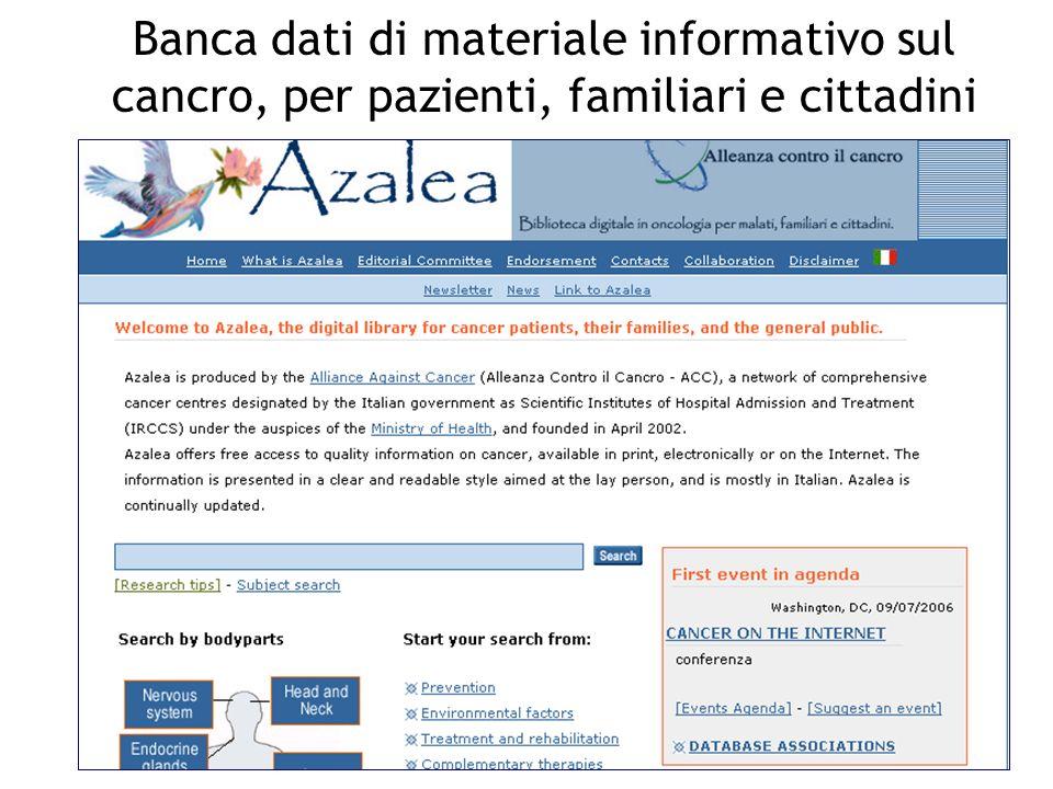 Banca dati di materiale informativo sul cancro, per pazienti, familiari e cittadini