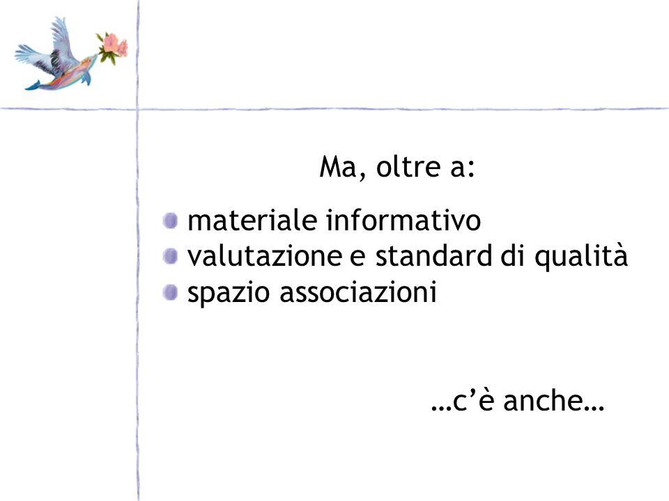 Ma, oltre a: materiale informativo valutazione e standard di qualità spazio associazioni …cè anche…