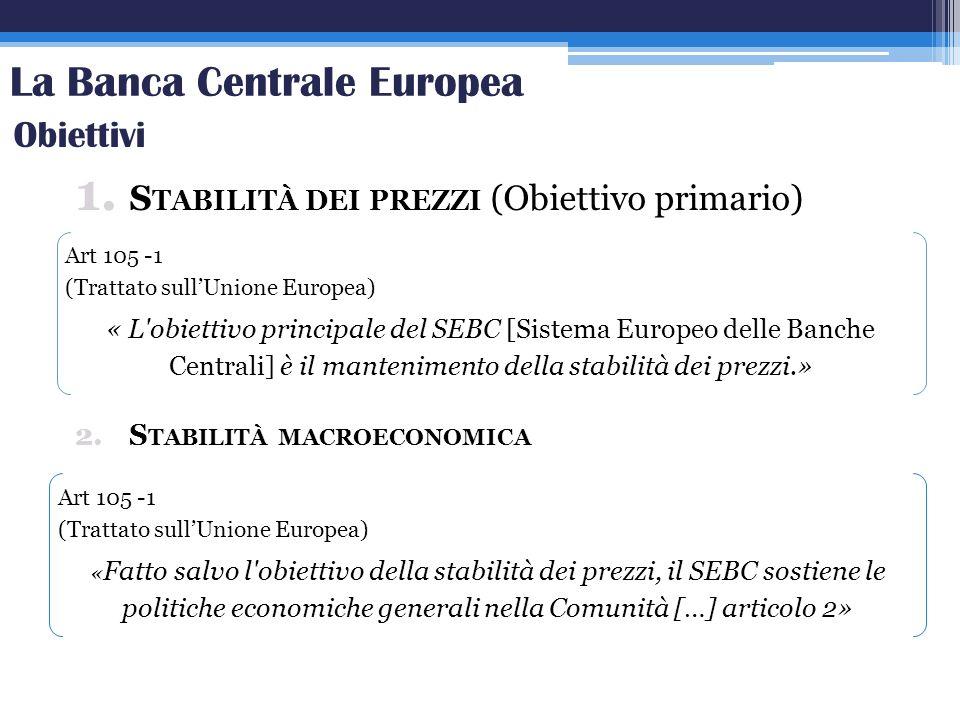 La Banca Centrale Europea 1. S TABILITÀ DEI PREZZI (Obiettivo primario) 2.S TABILITÀ MACROECONOMICA Obiettivi Art 105 -1 (Trattato sullUnione Europea)