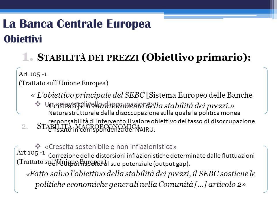 La Banca Centrale Europea 1. S TABILITÀ DEI PREZZI (Obiettivo primario): Art 105 -1 (Trattato sullUnione Europea) « L'obiettivo principale del SEBC [S