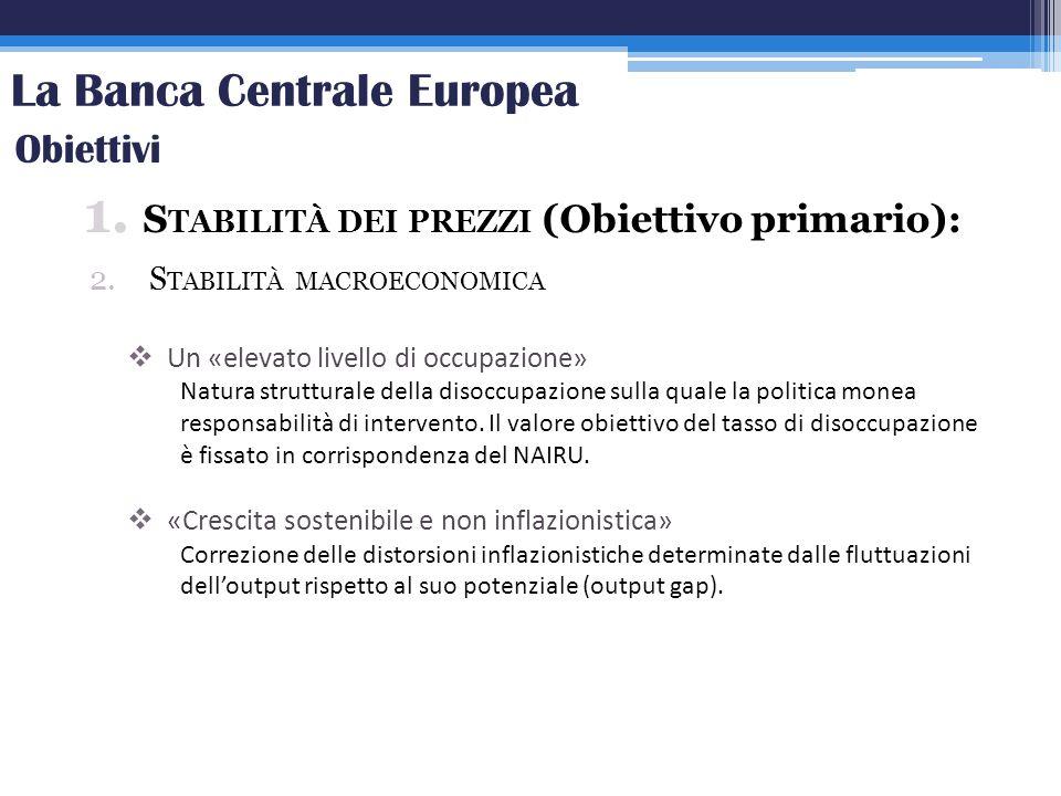 La Banca Centrale Europea 1. S TABILITÀ DEI PREZZI (Obiettivo primario): 2.S TABILITÀ MACROECONOMICA Obiettivi Un «elevato livello di occupazione» Nat