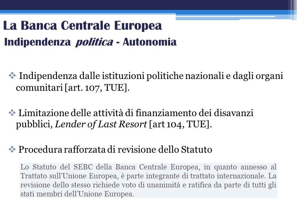 Indipendenza dalle istituzioni politiche nazionali e dagli organi comunitari [art. 107, TUE]. Limitazione delle attività di finanziamento dei disavanz