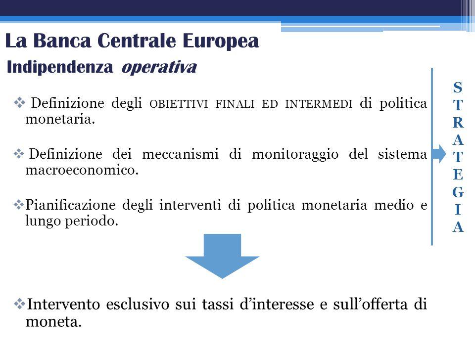 La Banca Centrale Europea Definizione degli OBIETTIVI FINALI ED INTERMEDI di politica monetaria. Definizione dei meccanismi di monitoraggio del sistem