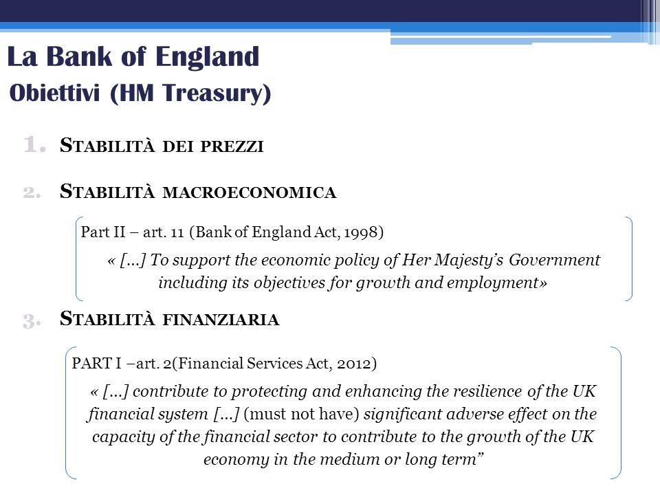 La Bank of England 1. S TABILITÀ DEI PREZZI 2.S TABILITÀ MACROECONOMICA 3.S TABILITÀ FINANZIARIA Obiettivi (HM Treasury) Part II – art. 11 (Bank of En